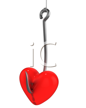 Royalty Free Clipart Image of a Red Heart on a Fishhook