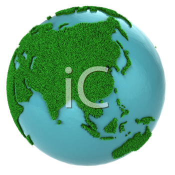 Royalty Free Clipart Image of a Globe of Grass and Water