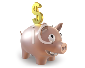 Royalty Free Clipart Image of a Piggy Bank With a Dollar Sign