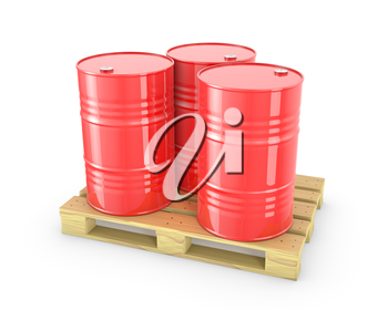 Three red barrels on a pallet isolated on white background