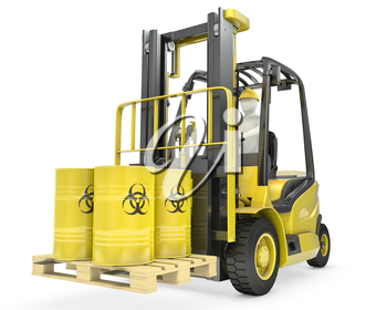 Fork lift truck with biohazard barrels, isolated on white background
