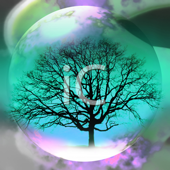 Royalty Free Clipart Image of a Tree in a Globe