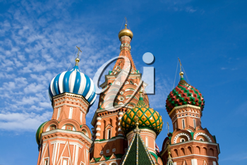fragment of st.Basil cathedral on bly sky background