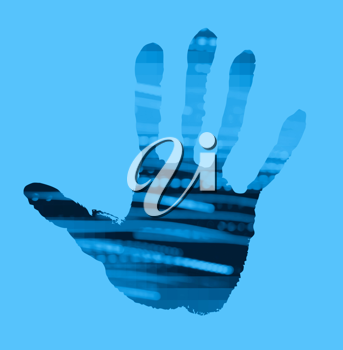abstract handprint on blue