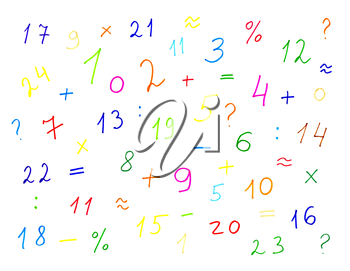 White background with colorful numerals and symbols, hand draw