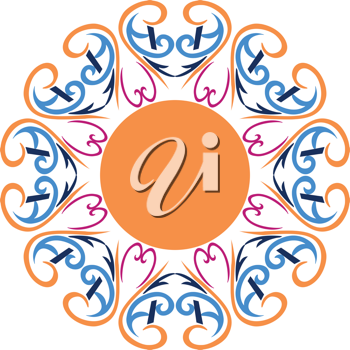 Royalty Free Clipart Image of Round Design With an Orange Circle in the Centre