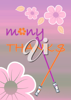 Royalty Free Clipart Image of a Floral Thanks