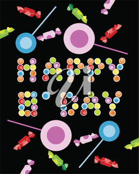 Royalty Free Clipart Image of a Birthday Greeting With Candies