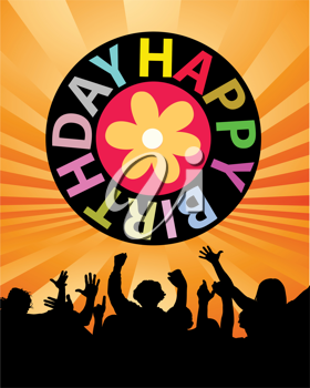 Royalty Free Clipart Image of a Birthday Greeting With a Crowd Below It