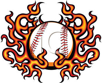 Royalty Free Clipart Image of a Baseball With Flames