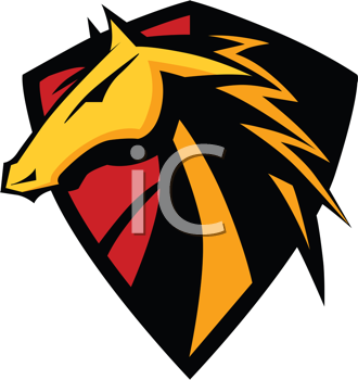 Royalty Free Clipart Image of a Horse Head on a Shield