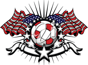 Royalty Free Clipart Image of a Soccer Ball on an American Flag