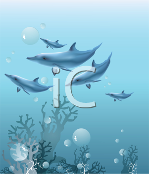 Royalty Free Clipart Image of Dolphins Swimming Underwater