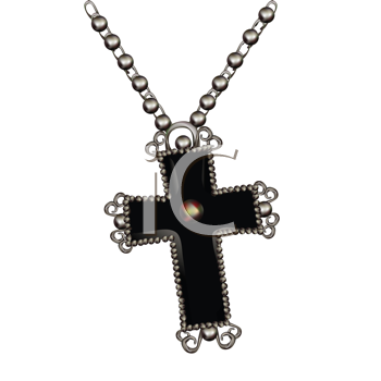Royalty Free Clipart Image of a Cross Necklace