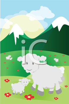 Royalty Free Clipart Image of Sheep on a Mountain
