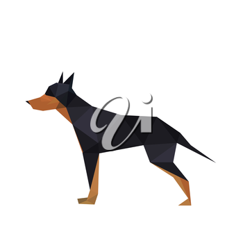 Illustration of abstract origami doberman dog