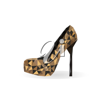 Illustration of origami leopard print shoe isolated on white background