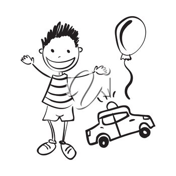 Illustration of hand drawn boy with toys isolated on white background