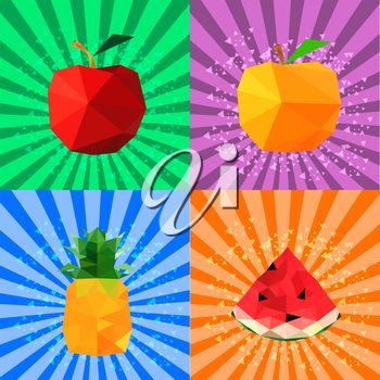 Collection of abstract origami fruits on retro background