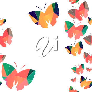 Seamless background with origami butterflys