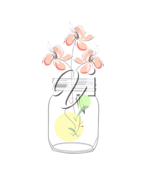 Modern illustration with abstract flowers and mason jar isolated on white background