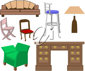 Royalty Free Clipart Image of Furniture
