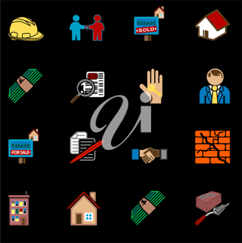 Royalty Free Clipart Image of Real Estate Icons