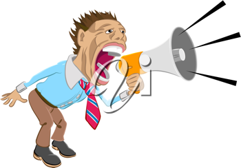 Royalty Free Clipart Image of a Man Shouting into a Megaphone