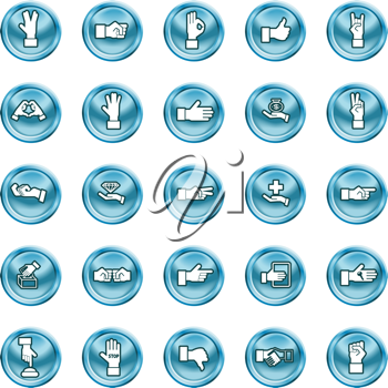 Royalty Free Clipart Image of Various Hand Icons