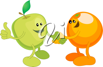 Royalty Free Clipart Image of an Apple and Orange Illustrations