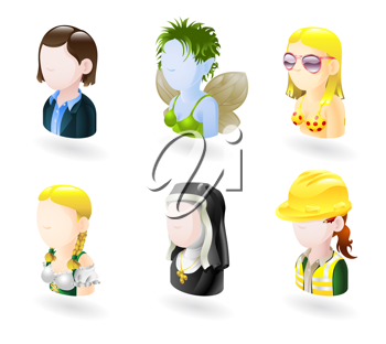 Royalty Free Clipart Image of Female Avatar Characters