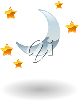 Royalty Free Clipart Image of the Moon and Stars