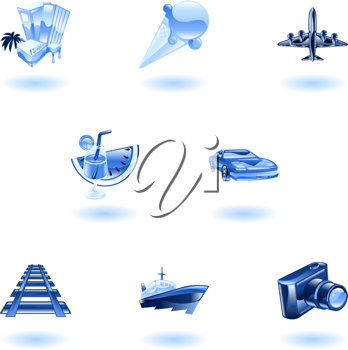 Royalty Free Clipart Image of Blue Travel Icons