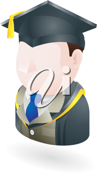 Royalty Free Clipart Image of a Person in a Graduation Cap