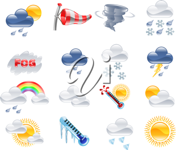 Royalty Free Clipart Image of a Series of Weather Related Icons