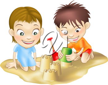 Royalty Free Clipart Image of Two Children Playing at the Beach