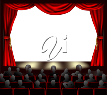 Royalty Free Clipart Image of an Audience Watching a Stage