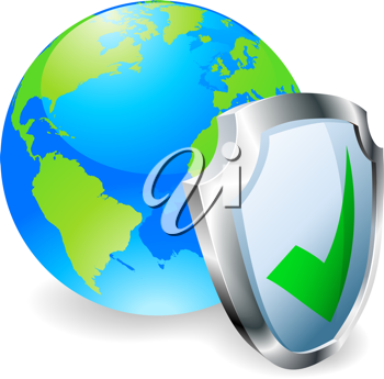 Royalty Free Clipart Image of a Shield Protecting Earth