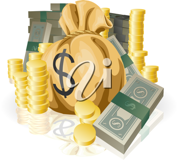 Royalty Free Clipart Image of Piles of Money