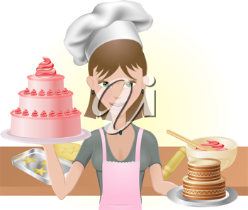 Royalty Free Clipart Image of a Woman Baking Cakes