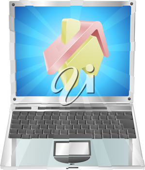 Royalty Free Clipart Image of a House on a Laptop Screen