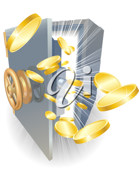 Royalty Free Clipart Image of Coins Coming Out of a Safe