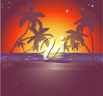 Royalty Free Clipart Image of a Beautiful Beach Scene at Sunset