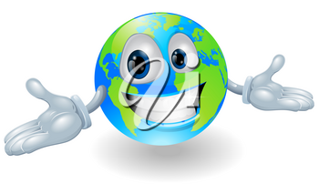 Illustration of a smiling happy globe character with hands held out
