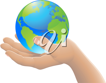 Hand holding the world globe. The world in your hand concept.