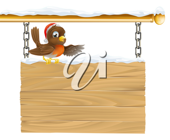 Illustration of a bird with Christmas Santa hat sitting on wooden sign with snow