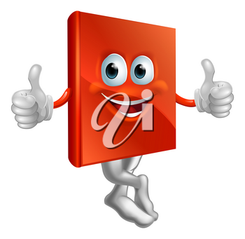 A cartoon illustration of a red book character giving a thumbs up