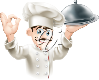 Illustration of a gourmet chef holding  silver platter and giving an okay sign