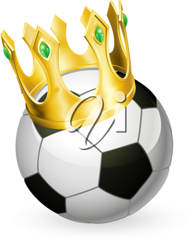 King of soccer concept, a football soccer ball wearing a gold crown