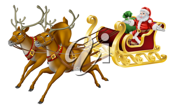 Illustration of Santa in his Christmas sled being pulled by reindeer